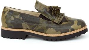 Zielone półbuty Zapato ze skóry