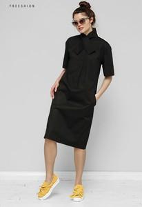 Czarna sukienka Freeshion midi oversize