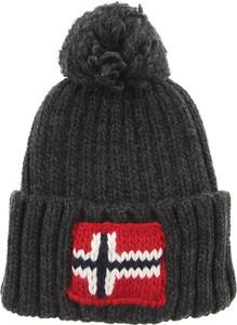 Czarna czapka Napapijri w stylu casual z dzianiny