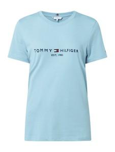 Niebieski t-shirt Tommy Hilfiger z bawełny z okrągłym dekoltem