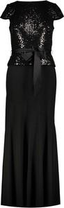 Czarna sukienka Ralph Lauren z krótkim rękawem z okrągłym dekoltem maxi