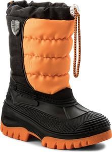 Pomarańczowe buty dziecięce zimowe cmp bez wzorów