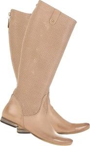 Brązowe kozaki Lafemmeshoes ze skóry przed kolano z płaską podeszwą
