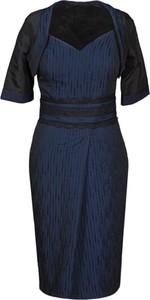 Granatowa sukienka Fokus w stylu klasycznym midi z dekoltem w kształcie litery v