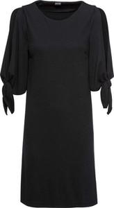 Czarna sukienka bonprix BODYFLIRT z długim rękawem trapezowa w stylu casual