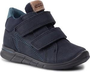 Granatowe buty dziecięce zimowe Ecco na rzepy dla chłopców