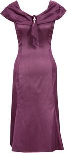 Czerwona sukienka Fokus z tkaniny midi z okrągłym dekoltem