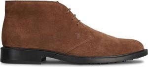 Brązowe buty zimowe Tod's ze skóry