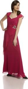 Czerwona sukienka Fokus rozkloszowana z tkaniny