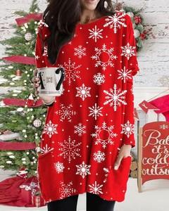 Bluzka Kendallme w stylu casual w bożonarodzeniowy wzór z długim rękawem