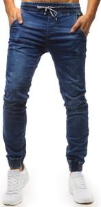 Niebieskie jeansy Dstreet z bawełny w street stylu