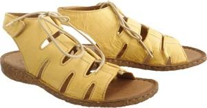Żółte sandały Josef Seibel z płaską podeszwą na rzepy
