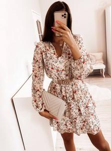 Sukienka Pakuten mini z dekoltem w kształcie litery v z długim rękawem