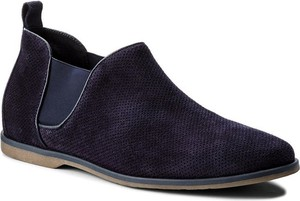 Granatowe buty zimowe Gino Rossi ze skóry