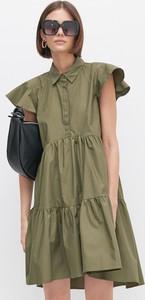 Sukienka Reserved z bawełny z kołnierzykiem mini