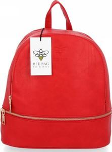 Czerwona torebka Bee Bag lakierowana na ramię ze skóry ekologicznej