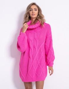 Różowa sukienka Fobya z długim rękawem z wełny