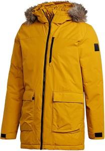 Żółta kurtka Adidas długa w sportowym stylu