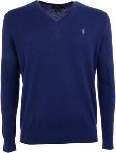 Niebieska koszulka z długim rękawem POLO RALPH LAUREN z bawełny