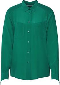 Zielona koszula POSTYR z jedwabiu z długim rękawem z kołnierzykiem