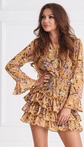 Brązowa sukienka Cocomore z długim rękawem z dekoltem w kształcie litery v w stylu casual