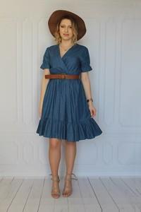 Sukienka arioso.pl z krótkim rękawem z bawełny