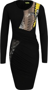 Sukienka Versace Jeans z okrągłym dekoltem z długim rękawem mini