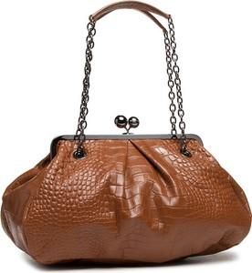 Brązowa torebka MaxMara lakierowana do ręki