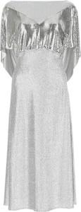 Srebrna sukienka Paco Rabanne z długim rękawem