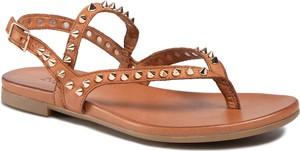 Brązowe sandały Inuovo w rockowym stylu z klamrami ze skóry