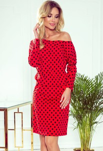 Czerwona sukienka NUMOCO hiszpanka z długim rękawem