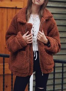 Długi rękaw ciepła rozpinana miś kożuszek kożuch jednolita kołnierz zimowa Nancy kawowy kurtka Cikelly (S)