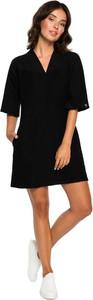 Czarna sukienka Be z dekoltem w kształcie litery v z dzianiny