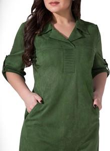 Zielona sukienka Art Mio z kołnierzykiem