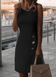 Czarna sukienka Cikelly mini z dekoltem w kształcie litery v z bawełny