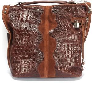 Brązowa torebka Domeno na ramię ze skóry