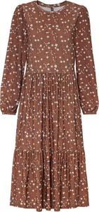 Sukienka bonprix midi z długim rękawem