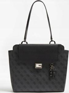 Czarna torebka Guess duża z bawełny