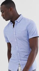 Niebieska koszula Asos Design z klasycznym kołnierzykiem z krótkim rękawem