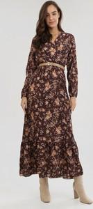 Brązowa sukienka born2be z długim rękawem