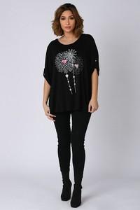 Czarna bluzka Plus Size Company z okrągłym dekoltem