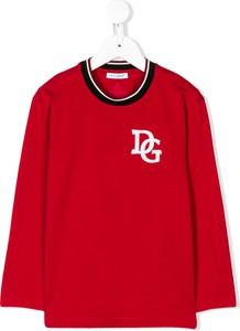 Czerwona koszulka dziecięca Dolce & Gabbana Kids z bawełny