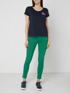 Granatowa bluzka edc by Esprit z dżerseju z krótkim rękawem w stylu casual
