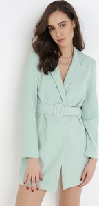 Miętowa sukienka born2be w stylu casual mini z dekoltem w kształcie litery v