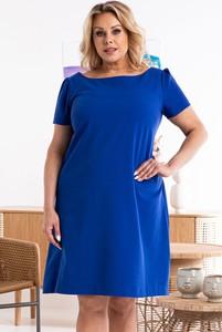 Niebieska sukienka KARKO z tkaniny trapezowa z okrągłym dekoltem