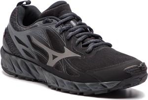 Czarne buty sportowe Mizuno ze skóry ekologicznej w sportowym stylu