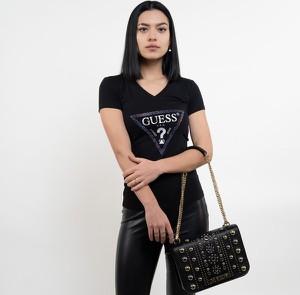 Czarny t-shirt Guess z krótkim rękawem z bawełny