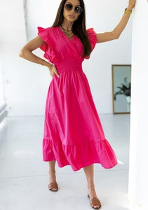 Sukienka Latika z krótkim rękawem z dekoltem w kształcie litery v z bawełny