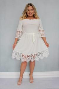 Sukienka KARKO hiszpanka z tkaniny z długim rękawem