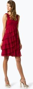 Czerwona sukienka Swing bez rękawów z okrągłym dekoltem midi